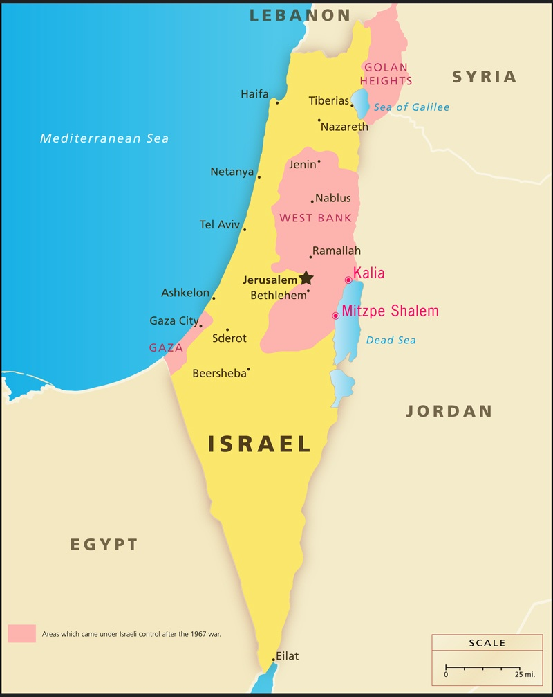 israel map west bank: