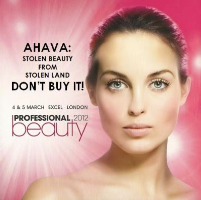 Illegal settlement cosmetics company Ahava exhibits at Professional Beauty ...